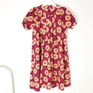Vintage Cottagecore Floral Puff Sleeve Midi Dress